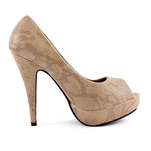 High Heels Pumps Damenschuhe Stiletto Plateau Schuhe Schlangenleder Optik Z4826-P, Präzise Farbe:Khaki;Schuhgröße:EUR 39