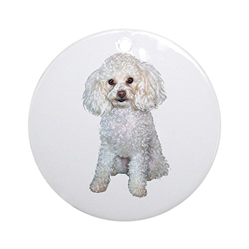 CafePress Poodle - Min (W) Ornament (Round) Ornament (Round) Round Holiday Christmas Ornament