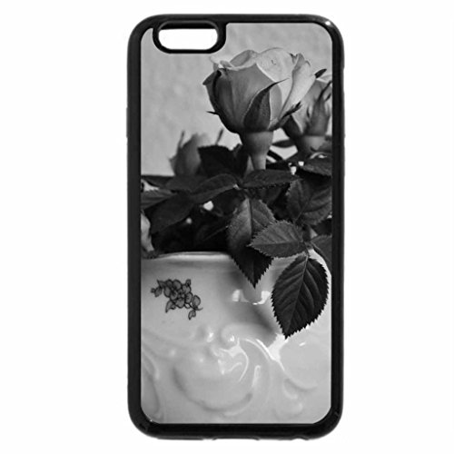 iPhone 6S Plus Case, iPhone 6 Plus Case (Black & White) - TEAPOT OF ROSES