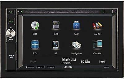 JENSEN JRV9000R 2.0 Double DIN 6.2' Touchscreen Navigation / Bluetooth Multimedia Receiver System JRV9000 with Harness, DVD, NAV, SiriusXM Ready, BT Technology, iPhone / iPod, MHL, HDMI, USB, AV In.