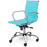 Winport Furniture WF-7912 Mid-Back Executive Leather Armrest Desk Chair, Turquoise