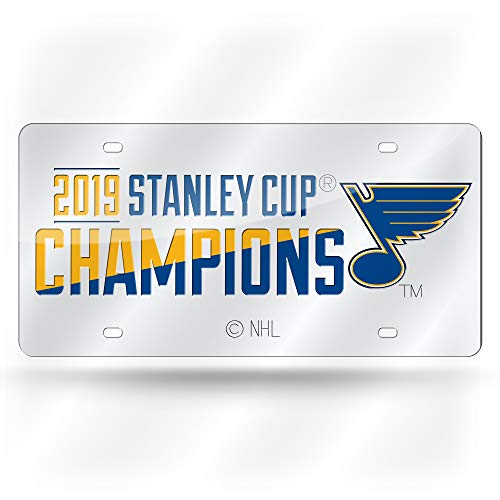 Rico Industries, Inc. St Louis Blues 2019 Stanley Cup Champions Premium Silver Laser Cut Tag Acrylic Inlaid License Plate Hockey (Blue Laser License Plate)