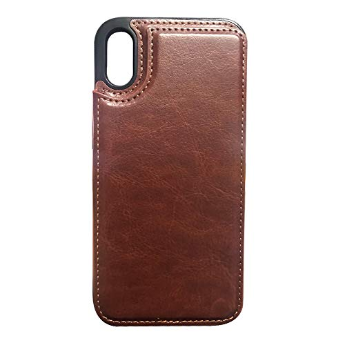 iTrade Compatible with iPhone X/Xs Leather Case Wallet ID Credit Cards Slot Cash Pocket Kickstand Magnetic Clasp Luxury Phone Cover Flame