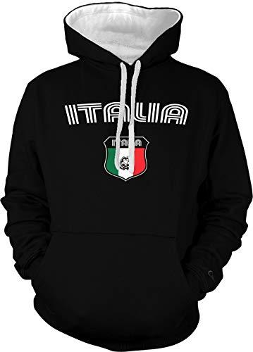 Amdesco Men's Italian Flag Crest Italia Italy Two Tone Hoodi