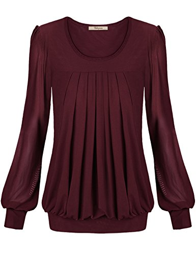 Women Dress Shirts,Bebonnie Womens Plus Size Ladies Basic Jersey Fashion Peasant Banded Blouse T Shirts Tunic Top XXXL Wine