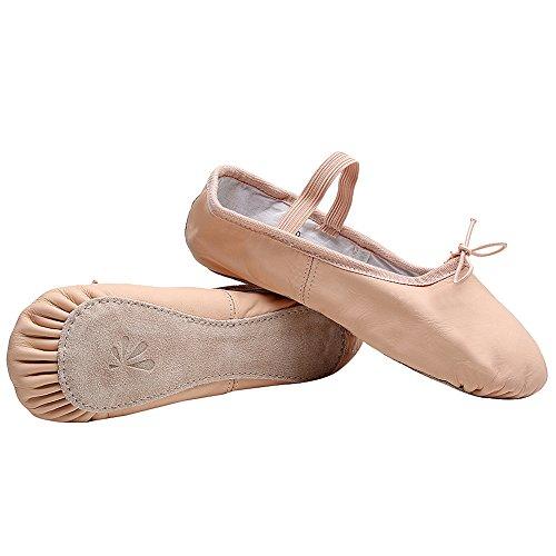 Cuero Bailarinas rismart equita Mu Resplandecer Zapatillas Zapatos Plano Mujer Almendra npwYqSU6