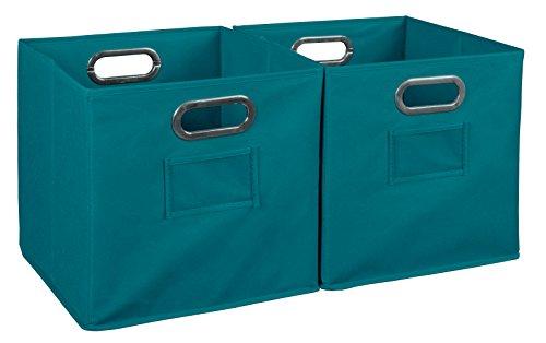 Niche Set of 2 Cubo Foldable Fabric Bins- Teal