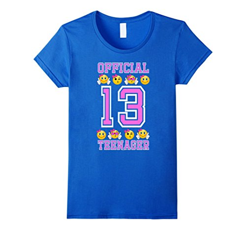 Womens Emojicon 13th Birthday Gifts For Teenagers Age 13 Girls Tee Small Royal Blue