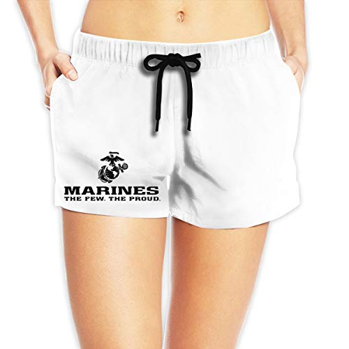USMC The Few The Proud Marines Logo Womens Summer Casual Shorts,Beach Shorts Party Shorts White