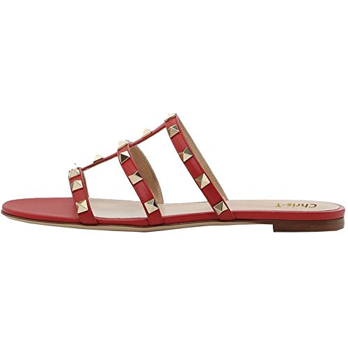 Chris-T Womens Mules Flats Rivets Slides Rockstud Strappy Studded Gladiator Sandals Backless Dress Slippers 5-14 US Red