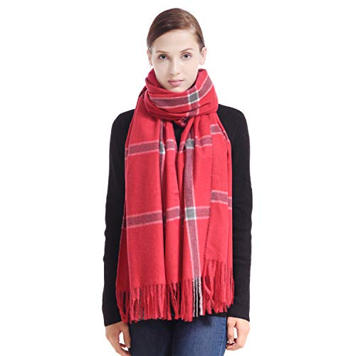 LERDU Ladies Gift Idea Cashmere Tartan Pashmina Scarf Trendy Red Tartan Warm Wool Wrap Shawl Winter Stole for Women