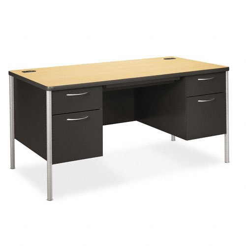 HON Products - HON - Mentor Series Double Pedestal Desk, 60w x 30d x 29-1/2h, Natural Maple/Charcoal - Sold As 1 Each - High-pressure woodgrain laminate worksurface helps resist damage from daily wear-and-tear. - High-sided file drawers with full-extension triple-tied cradles and spring-loaded follower blocks; box drawers extend three-quarters on nylon rollers. - Center drawer with HON