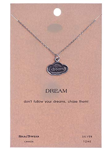 Shag Wear Dream and Music Inspirations Quote Pendant Necklace (Dream Charm Cloud -