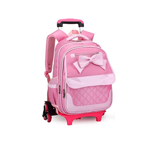 0c313ce474e7 Gyqjs Large Trolley Schoolbag (Grade 1-6) Girl Student Backpack Nylon  Fabric Detachable Three-Wheeled Lever Backpack Decompression Ridge Shield  Plane ...