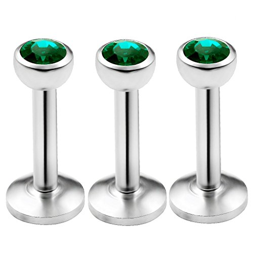 bodyjewellery 3pcs 16g 1/4 Labret Stud Lip Ring Snake Bite Conch Forward Helix Monroe Tragus Dahlia Marilyn Internally Threaded - Emerald
