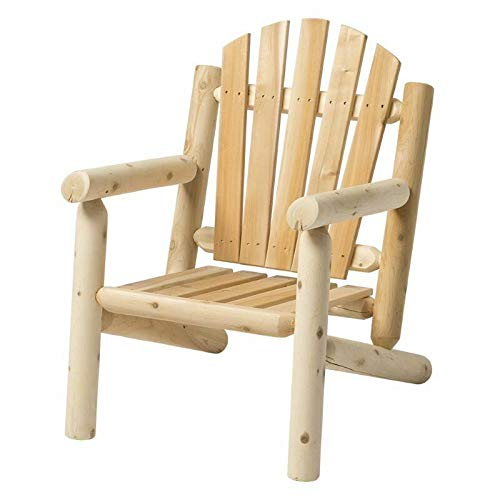 JumpingLight White Cedar 5 Piece Adirondack Furniture Set in Natural Durable and Ideal for Patio and -