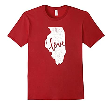 Mens Illinois Home Love Vintage state map outline shirt gift Small Cranberry