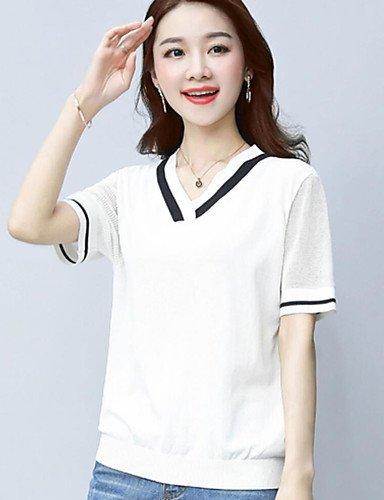 BaiChunYunYi Standard Pullover da Donna-Casual Tinta Unita Monocolore A V Manica Corta Cotone Estate Sottile Media Elasticità