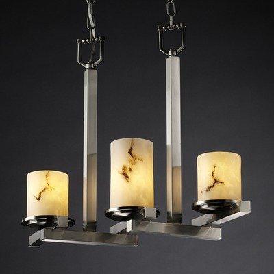Justice Design Group FAL-8777-12-NCKL LumenAria Collection Dakota 3-Light Zig-Zag Chandelier