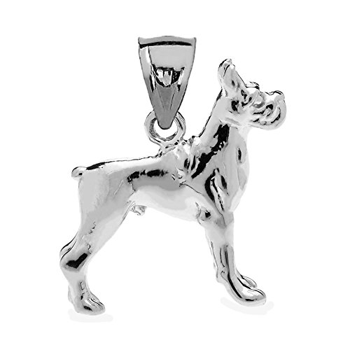 (Sterling Silver 3D Boxer Dog Charm Pendant)