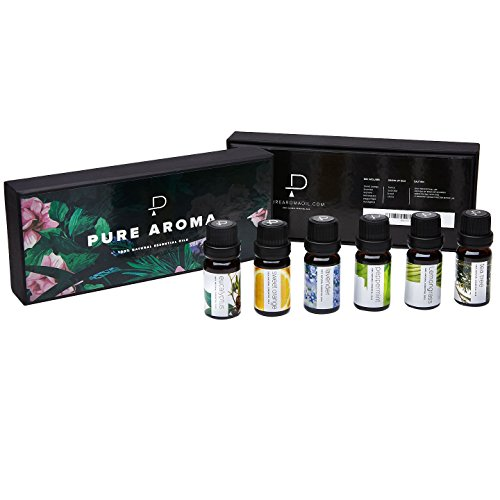 Essential oils by PURE AROMA 100% Pure Therapeutic Grade Oils kit- Top 6 Aromatherapy Oils Gift Set-6 Pack, 10ML(Eucalyptus, Lavender, Lemon grass, Orange, Peppermint, Tea Tree) by Pure Aroma (Image #2)