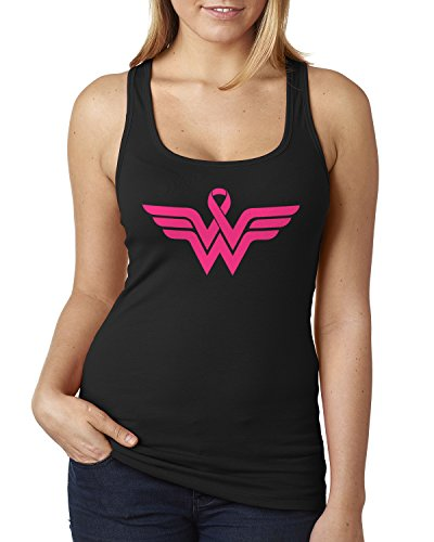 Breast Cancer Awareness Pink Ribbon Superhero Logo Ladies Racerback Tank Top XX-Large Black