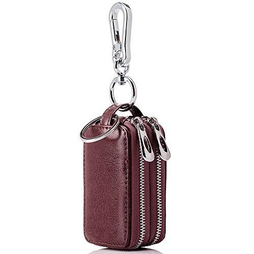 Case Bag Keychain (BaouBow Genuine Leather Car key Chain bag Metal Hook Zipper Car Key Bag (wine red))