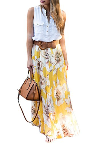15de159d1210be Dearlovers Vintage Full Length Floral Print Chiffon Maxi Long Skirts  X-Large Size Yellow by