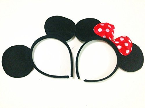 Mickey Mouse Headband Ears - Norbis Party Supplies Mickey Minnie Mouse Ears Headbands (Set of 2), Black