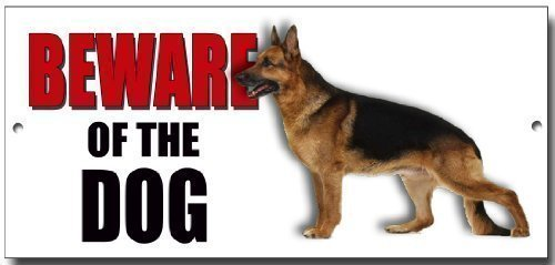 ALSATIAN' BEWARE OF THE DOG metal security warning sign with enamelled finish Vintage Sign Designs