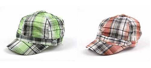 Pop Unisex 3 Button Plaid Cadet Style Cap Hat (2 pcs Green & Orange)