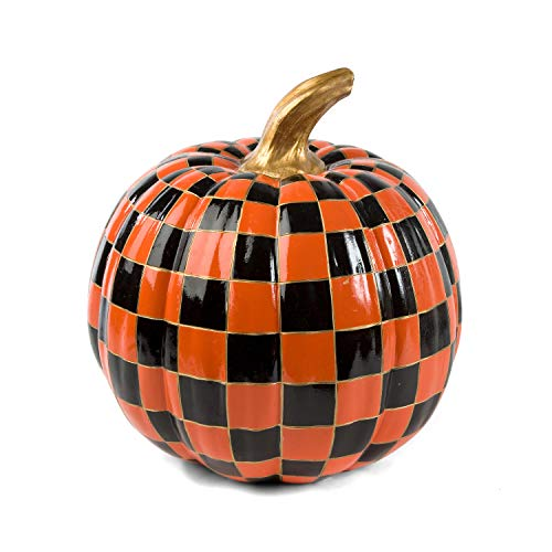 MacKenzie-Childs Orange Check Pumpkin - Medium - Fall -
