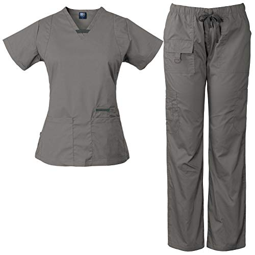 Medgear Womens Scrub Set Utility 4 Pocket top, 7 Pocket 2043 Pant with D-Ring (Pewter, M)
