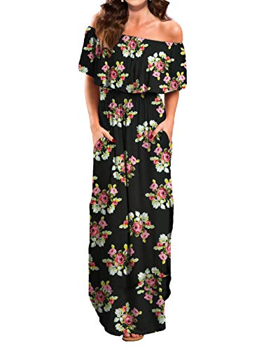 VERABENDI Women's Summer Off Shoulder Loose Plain Floral