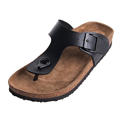 WTW Men's Adults Gizeh Thong Sandal, Black, Size 11 Adjustable Strap Adult Sandals