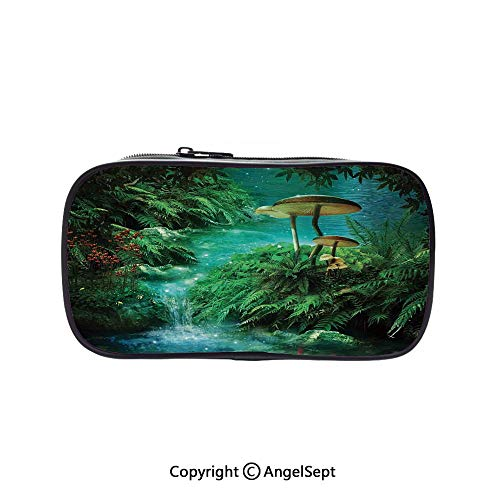 Cute Pencil Case - High Capacity,View of Fantasy River with a Pond Fish and Mushroom in Jungle Trees Moss Eden Green Teal Red 5.1inches,Multifunction Cosmetic Makeup Bag,Perfect Holder for Pencils an