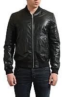 Prada Men's Black 100% Leather Reversible Bomber Jacket US S IT 48