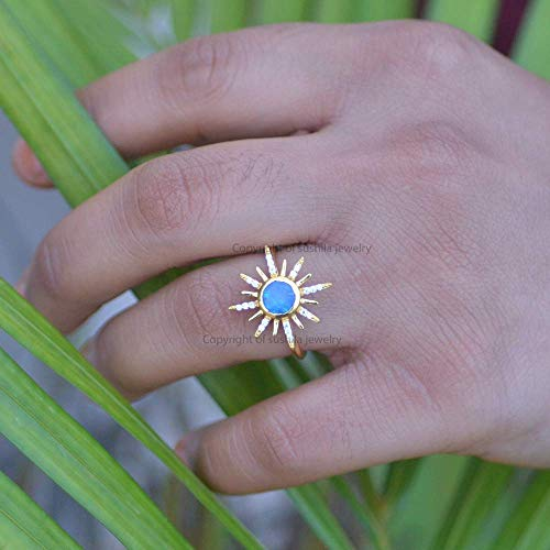 Genuine Blue Opal Gemstone Starburst Design Ring Solid 14k Yellow Gold Diamond Pave Jewelry