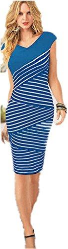 Free2mys® Womens V Neck Wrap Stylish Stripes Dress (8, Blue)