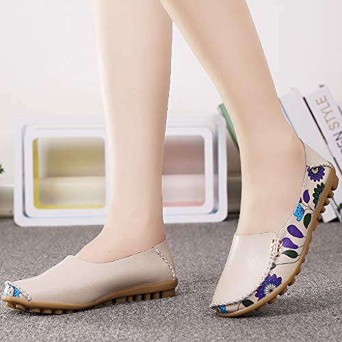 Shusuen Fashion Women's Slip On Flats Shoes Comfort Walking Classic Round Toe Shoes Pumps Loafers Beige by Shusuen_shoes (Image #1)