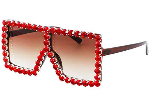 Oversized Exaggerated Flat Top Huge SHIELD Square Sunglasses Colorful Lenses Fashion Sunglasses (Red Diamond)