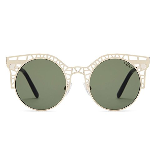 Quay Australia FLEUR Women's Sunglasses Cutout Metal Cat Eye Frame - Gold/Green