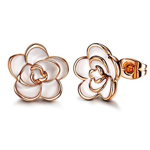 Plated White Enamel - AllenCOCO 18K Gold Plated Black Rose Flower Stud Earrings for Women (Medium White)