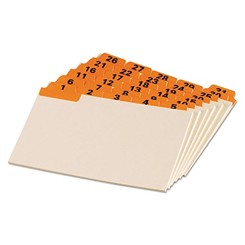 Oxford® Laminated Index Card Guides, Daily, 1/5 Tab, Manila, 4 x 6, 31/Set by Oxford