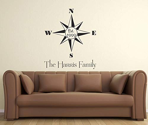 BYRON HOYLE Personalized with Family Name and Est. Date Compass Rose Decal Sharp Vinyl Sticker Home Decor Custom Family Room Den Bedroom Kitchen Hallway