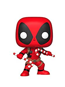 Funko Collectible Figure Pop Marvel: Holiday, Deadpool with Candy Canes, Multicolor