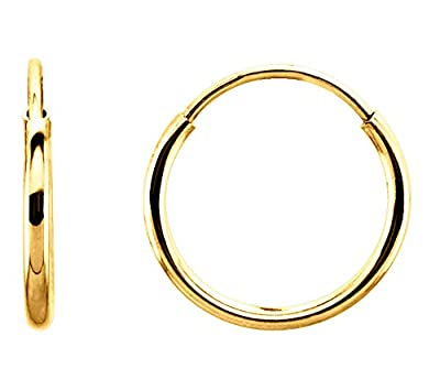 14K Gold Thin Continuous Endless Hoop Earrings, 10 - 24mm (1mm Tube) by rs