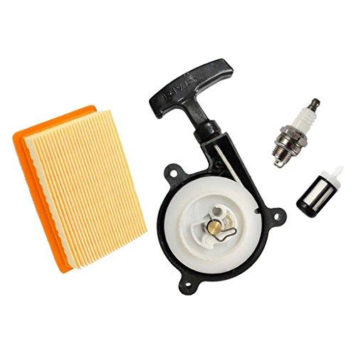 HURI Recoil Starter with Air Filter Spark Plug Fuel Filter for Stihl SR340 SR420 BR320 BR340 BR380 BR400 BR420