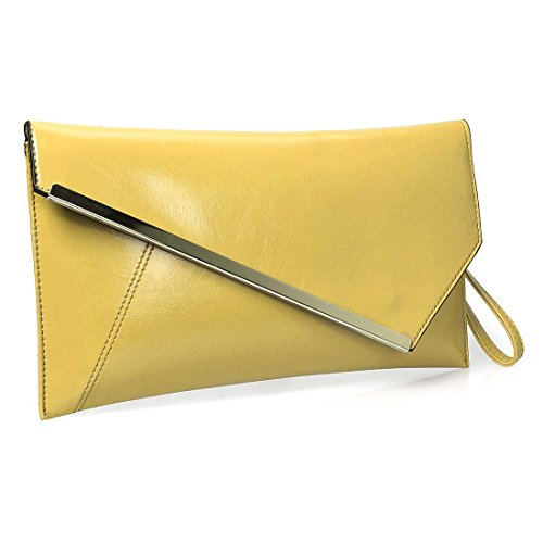 BMC Fashionable Faux Leather Gold Metal Accent Envelope Style Statement Clutch Taxi Cab Yellow