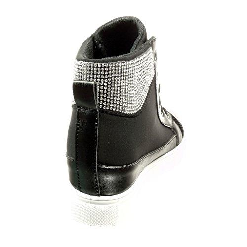 Zeppa Moda Tacco Scarpe 6 5 Donna Angkorly Cm Sneaker Strass Nero q6nfWWtx